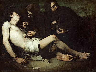 Sacrificial Photograph - St Sebastian, Martyred Oil On Canvas by Auguste Theodule Ribot
