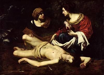 St. Sebastian Tended By St. Irene Oil On Canvas Print by Nicolas Regnier