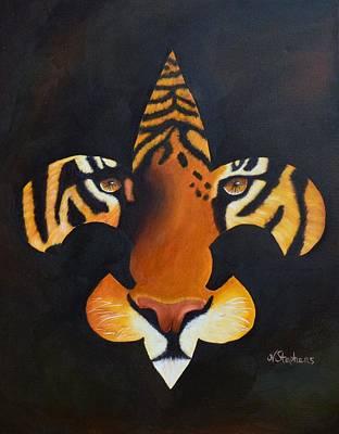 St. Tiger Print by Nina Stephens
