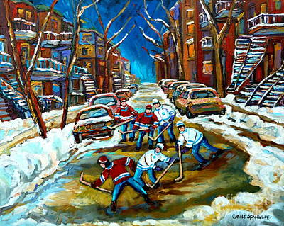 Kids Playing Hockey Painting - St Urbain Street Boys Playing Hockey by Carole Spandau