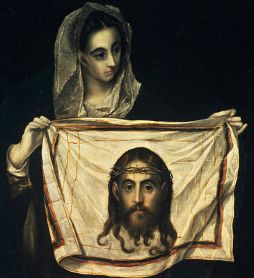 Iconography Painting - St Veronica With The Holy Shroud by El Greco Domenico Theotocopuli