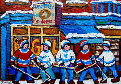Montreal Winter Scenes Painting - St Viateur Bagel Hockey Game Montreal City Scene by Carole Spandau
