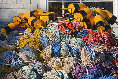 Stack Of Rope And Lobster Fishing Gear On Dock Maine Print by Keith Webber Jr