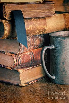 Stack Of Vintage Books Print by Jill Battaglia