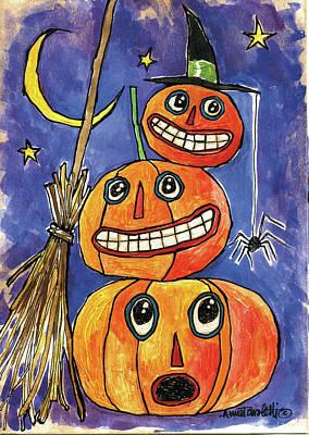 Spider Painting - Stacked Pumpkins by Anne Tavoletti