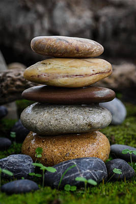 Mystic Setting Photograph - Stacked Stones A4 by Marco Oliveira
