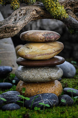 Mystic Setting Photograph - Stacked Stones A5 by Marco Oliveira
