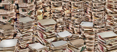 Large Group Of Objects Photograph - Stacks Of Files by Panoramic Images