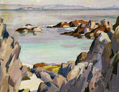 Scottish Colourist Painting - Staffa And Rhum From Iona by Francis Campbell Boileau Cadell