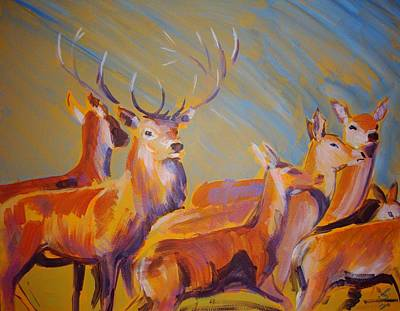 Storm Drawing - Stag And Deer Painting by Mike Jory