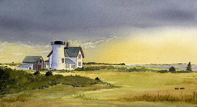 Chatham Harbor Painting - Stage Harbor Light - Summer by Heidi Gallo