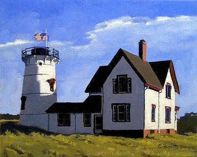 Chatham Harbor Painting - Stage Harbor Lighthouse Cape Cod Massachusetts by Christine Hopkins