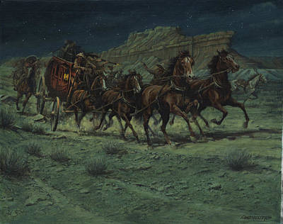 Stagecoach Six Horse Hold Up Print by Don  Langeneckert