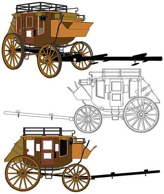 Historic Vehicle Mixed Media - Stagecoach Without Horses - Color Sketch Drawing by Nenad Cerovic