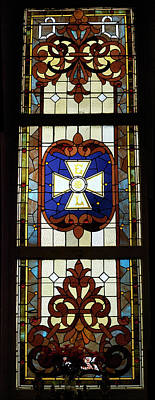 Stained Glass 3 Panel Vertical Composite 01 Print by Thomas Woolworth