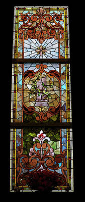 Stained Glass 3 Panel Vertical Composite 06 Print by Thomas Woolworth
