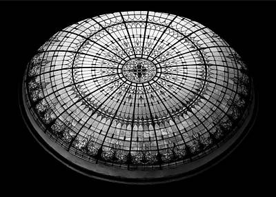 Stained Glass Dome - Bw Print by Stephen Stookey