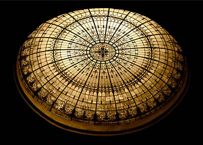 Stained Glass Dome - Sepia Print by Stephen Stookey