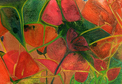 Mosaic Mixed Media - Stained Glass Poppies by Carla Parris
