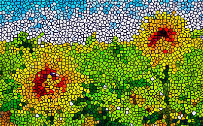 Stained Glass Sunflowers Print by Lanjee Chee