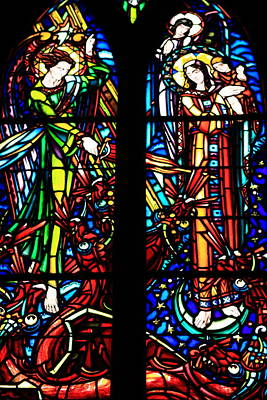 Religious Art Photograph - Stained Glass Window At Le Mont Saint-michel by Aidan Moran