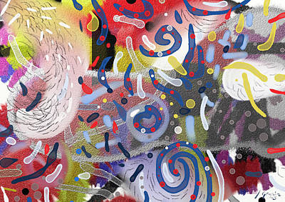 Abstract Painting - Abstract Orginal Painting Colorful Stains Spirals And Circles By Jerica Gracin by Jerica  Gracin