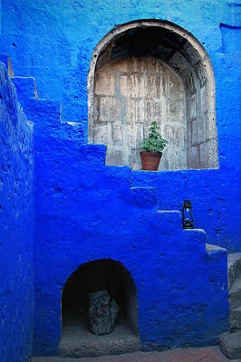 Staircase In Blue Courtyard Print by RicardMN Photography