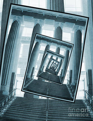 University Of Michigan Digital Art - Stairs And Pillars by Phil Perkins