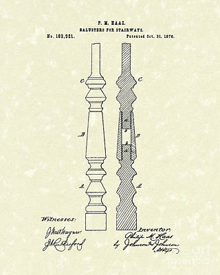 Balusters For Stairways Drawing - Stairway Baluster 1876 Patent Art by Prior Art Design