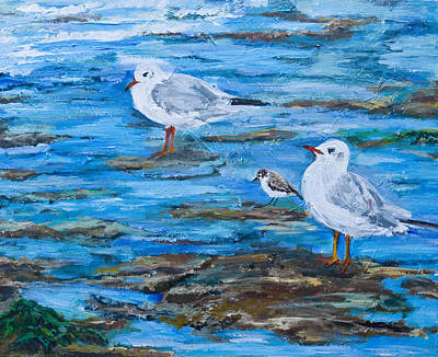 Incoming Tide Painting - Sea Birds Wait by Wendy Le Ber