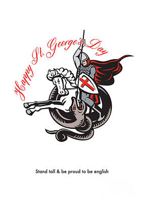 Stand Tall Proud English Happy St George Stand Retro Poster Print by Aloysius Patrimonio