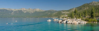 Sand Harbor Photograph - Stand-up Paddle-boarders Near Sand by Panoramic Images