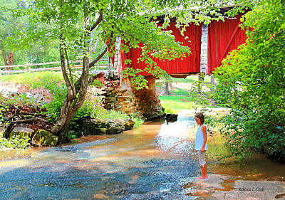 Covered Bridge Painting - Standing By The River At Campbell's Bridge by Bellesouth Studio