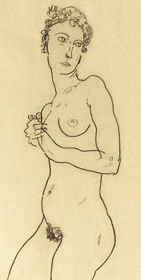 Bosoms Drawing - Standing Nude by Egon Schiele