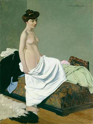 Erotica Painting - Standing Nude Holding A Gown On Her Knee by Felix Edouard Vallotton