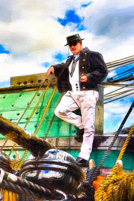 Standing On The Deck Of Old Ironsides Print by Mark E Tisdale
