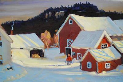 Distant Mountains Painting - Stanley Kay Farm by Len Stomski