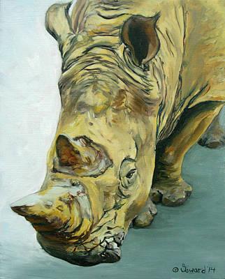 White Rhino Painting - Stanley Rhino by Sarah Soward