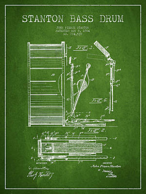 Stanton Bass Drum Patent Drawing From 1904 - Green Print by Aged Pixel