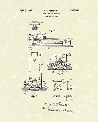 Desk Drawing - Stapler 1932 Patent Art by Prior Art Design