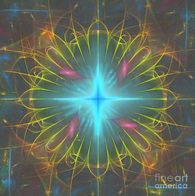 Vibrating Digital Art - Star 4 by Ursula Freer