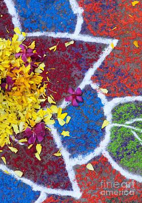 Indian Art Photograph - Star Flower Rangoli Design  by Tim Gainey