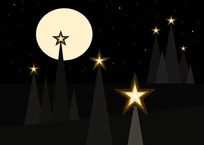 Night Landscape Digital Art - Star Light II by Val Arie