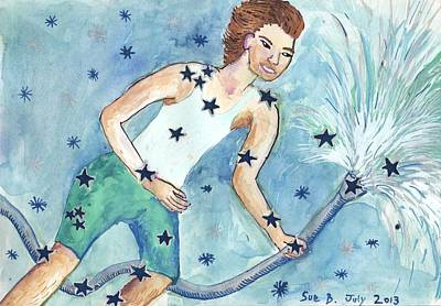 Constellations Painting - Star Sign Aquarius by Sushila Burgess