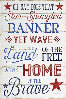 Red White And Blue Painting - Star Spangled by Jennifer Pugh