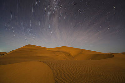 Star Trails And Sand Dorob Np Namib Print by Theo Allofs