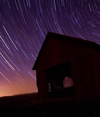 Star Trails On The Farm Print by Dan Sproul