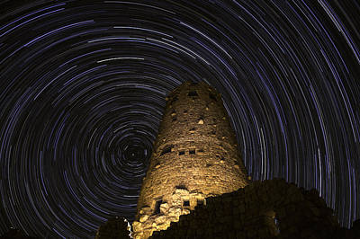 Star Trails Over The Watchtower Print by Jason Hatfield