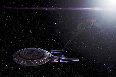 Star Trek - Ambush - Klingon Bird Of Prey - Uss Enterprise D Print by Jason Politte