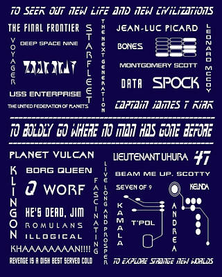 Star Trek Remembered In Navy Blue Print by Georgia Fowler